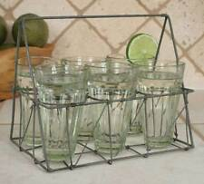 Galvanized Wire Caddy with set of Six Glasses for Kitchen, Outdoors, Bar Room
