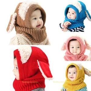22f82402e Baby Toddler Winter Beanie Warm Hat Hooded Scarf Earflap Knitted Cap ...