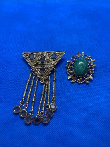 Vintage Goldette AMETHYIST Intaglio Chatelain Pin/