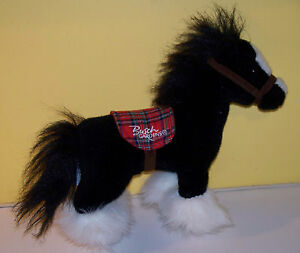 Details about Aurora Busch Gardens Plush Clydesdale Horse Plaid Saddle  Stuffed Animal Black