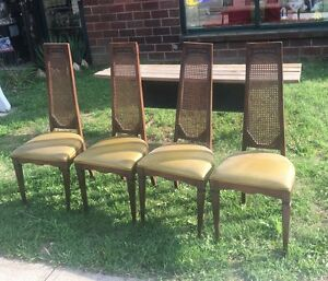 4 Vtg Mcm High Cane Back Padded Dining Wood Chair 1271