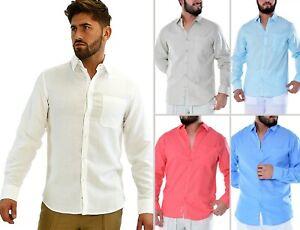 Mens Bohio Linen White Roll-Up Casual Long Sleeve Shirt S~ 2XL MLS3103