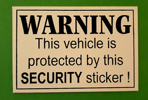 Warning This vehicle is protected by this Security sticker !  car SUV sticker.