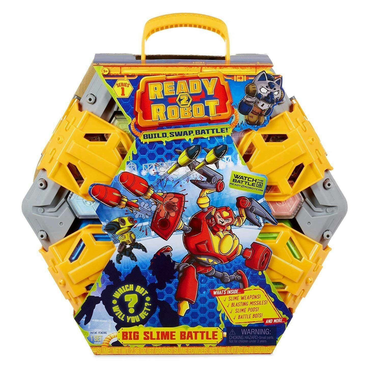 Ready2Robot  gree Slime battaglia with 10 Hidden Chambers & 40 battaglia Weapons NIB