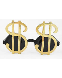 cfb272ca33a8 Gold Dollar Sign MONEY GLASSES pimp gangster tycoon costume gambler ...