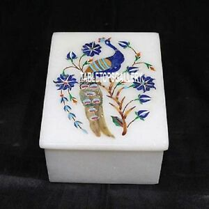 4-034-x3-034-x2-039-039-Peacock-Art-White-Marble-Trinket-Box-Floral-Inlay-Gift-for-Girls-H3210