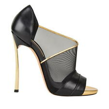 CASADEI ASYMMETRIC MESH Blade Pumps Heels Shoes Black Gold BNIB 4 EU 37 RRP £889