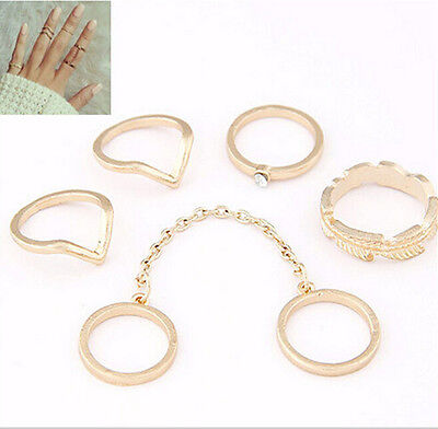 6pcs/Set New Urban Rings Gold Crystal Above Knuckle stacking Band Midi Mid Ring
