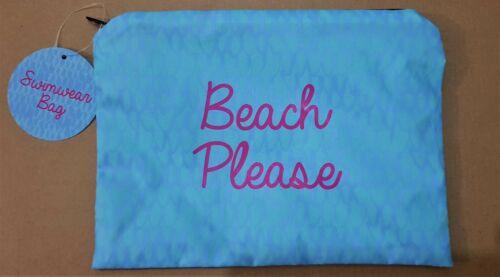 Beach Please Swimwear Bikini Bag Blue Holiday Travel to Hold Wet Bikini Swimwear