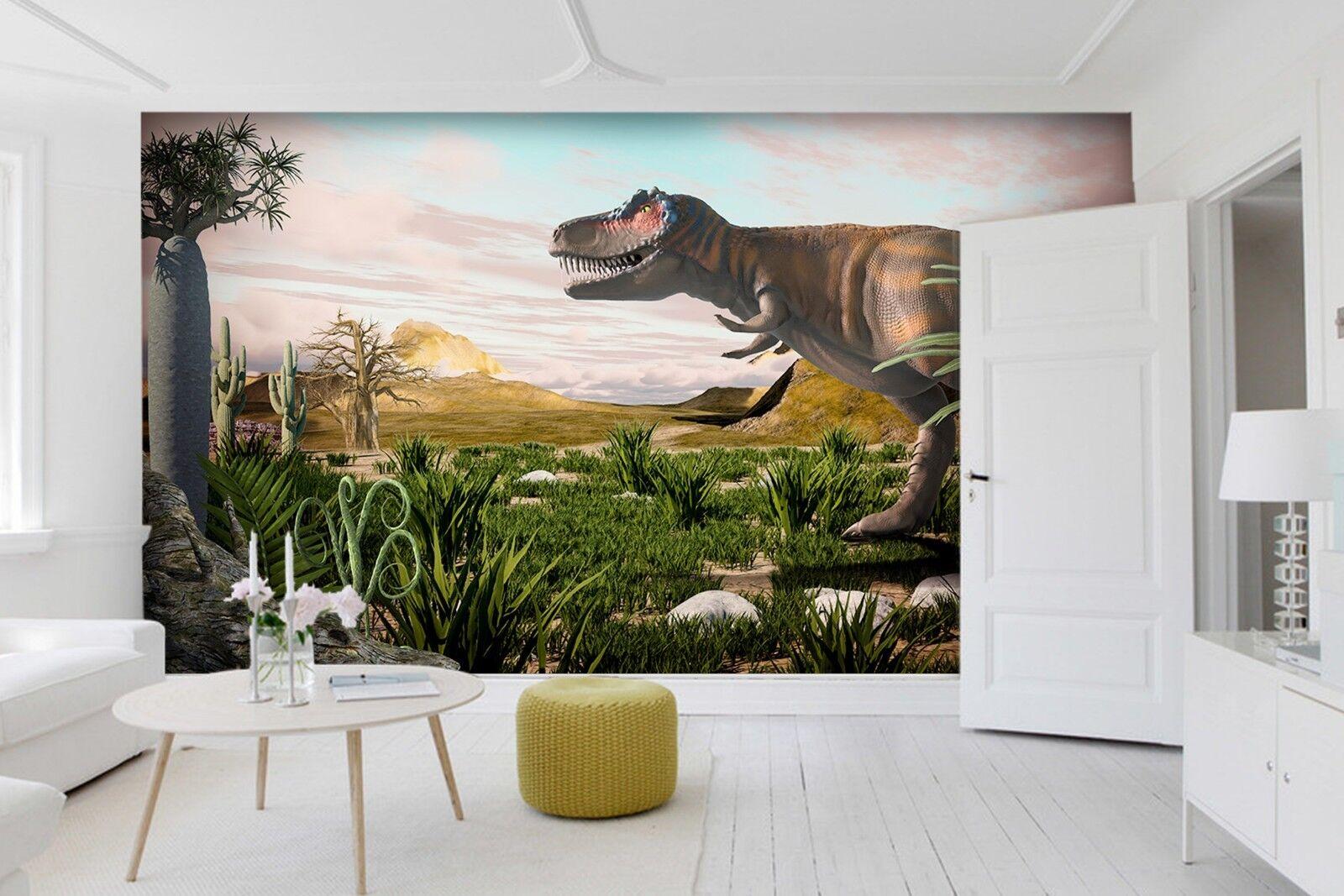3D Cactus Plant Dinosaur 2 Wallpaper Mural Print Wall Indoor Wallpaper Murals UK