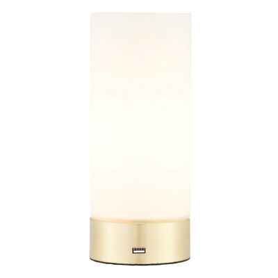 Touch Dimmable Table Lamp –Brass & Frosted Glass Shade– Modern Light USB Charger 5056199811731   eBay