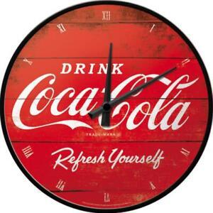 Coca-Cola-Refresh-Nostalgie-Wanduhr-Glas-31-cm-Wall-Clock-Neu