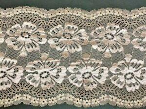"laverslace Deep Slate Grey Floral Trail Wide Stretch Tulle Lace Trim 9/""//23cm"