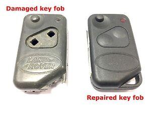 Repair refurbishment service for Range Rover P38 remote flip key fob + new case