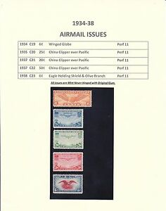 1934-38 Years Set Early Airmail Stamps Issued - Mint Never Hinged Original Gum