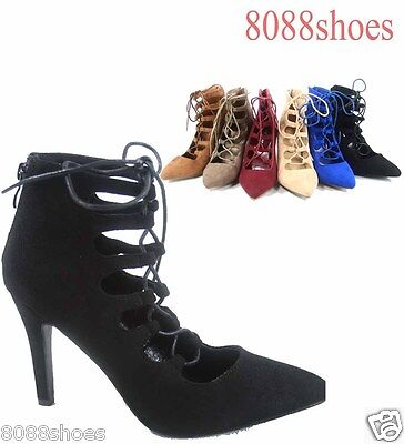 Women's Lace Up Stiletto Heel  Pointy Toe Pump Booties Shoes Size 6 - 10 NEW
