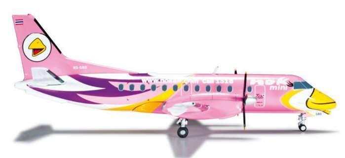 HE556088 Herpa Wings Nok Air SF-340 1 200 Pink REG HS-GBD Model Airplane