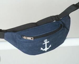 Anker-Huefttasche-Bauchtasche-Guerteltasche-Jeans-Vintage-Meer-Umhaengetasche-blau