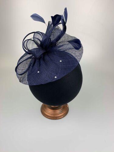 Navy Sinamay Hatinator Ladies Fascinator Fascinators Wedding Guest Race Day Hat