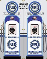 GAS PUMP SET PURE GAS STATION VINTAGE GARAGE DISPLAY BANNER SIGN ART 2- 2' X 5'