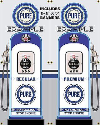 GAS PUMP SET TEXACO BANNER GAS STATION SHOP GARAGE DISPLAY SIGN ART 2-2/' X 5/'