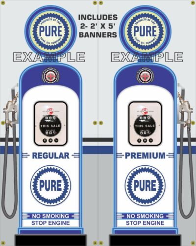 GAS PUMP SET PURE GAS STATION VINTAGE GARAGE DISPLAY BANNER SIGN ART 2-2/' X 5/'