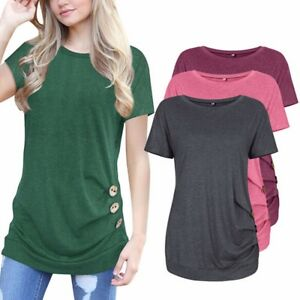 Tunica-Estate-Basic-Top-da-Donna-Manica-Corta-Girocollo-Larga-Maglia-Camicia