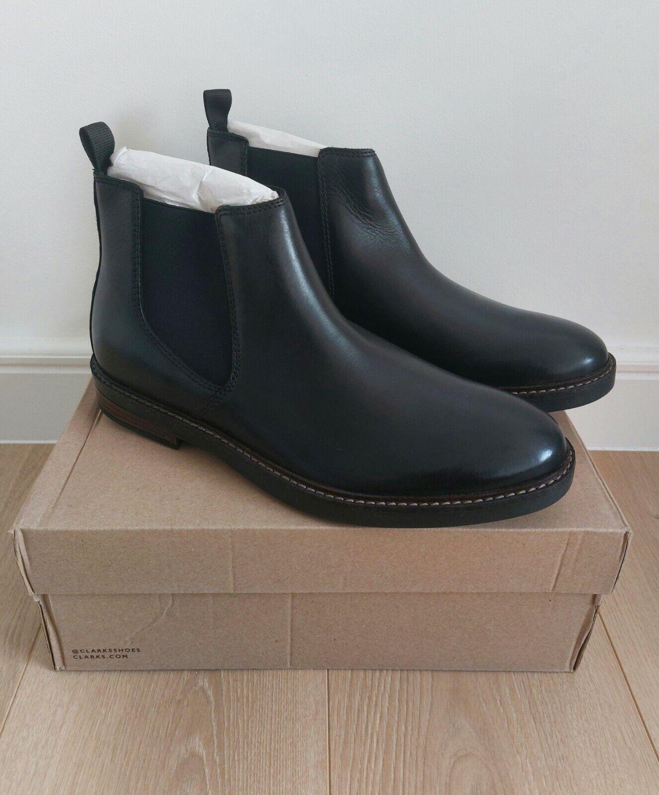 Clarks Mens Chelsea Boots Black Leather PAULSON UP UK Size 8.5 US 9.5 EUR 42.5