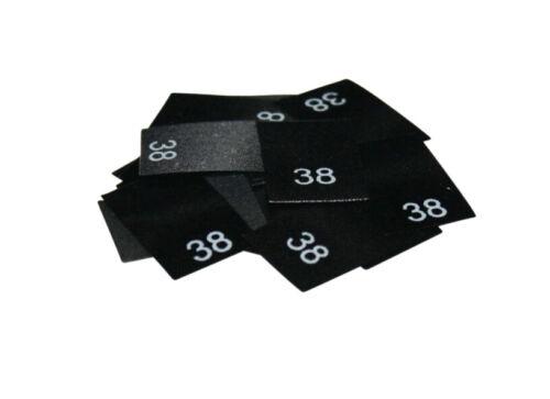 Größe 34 bis 56 auf schwarzem Polyesterband 25 Textiletiketten