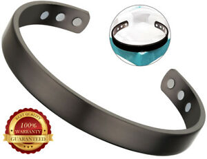 Dark-Grey-Copper-Magnetic-Bracelet-Plain-Pain-Arthritis-Cuff-Bangle-Wristband
