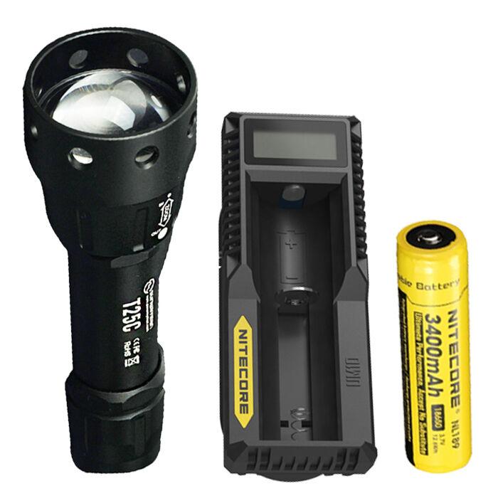 Sunwayman T25C CREE XM-L2 U3 LED Flashlight w  NL189 Battery & UM10 Charger