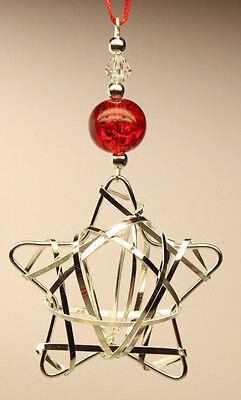 Handmade Christmas Tree Ornament Decoration Silver STAR with Swarovski Crystal
