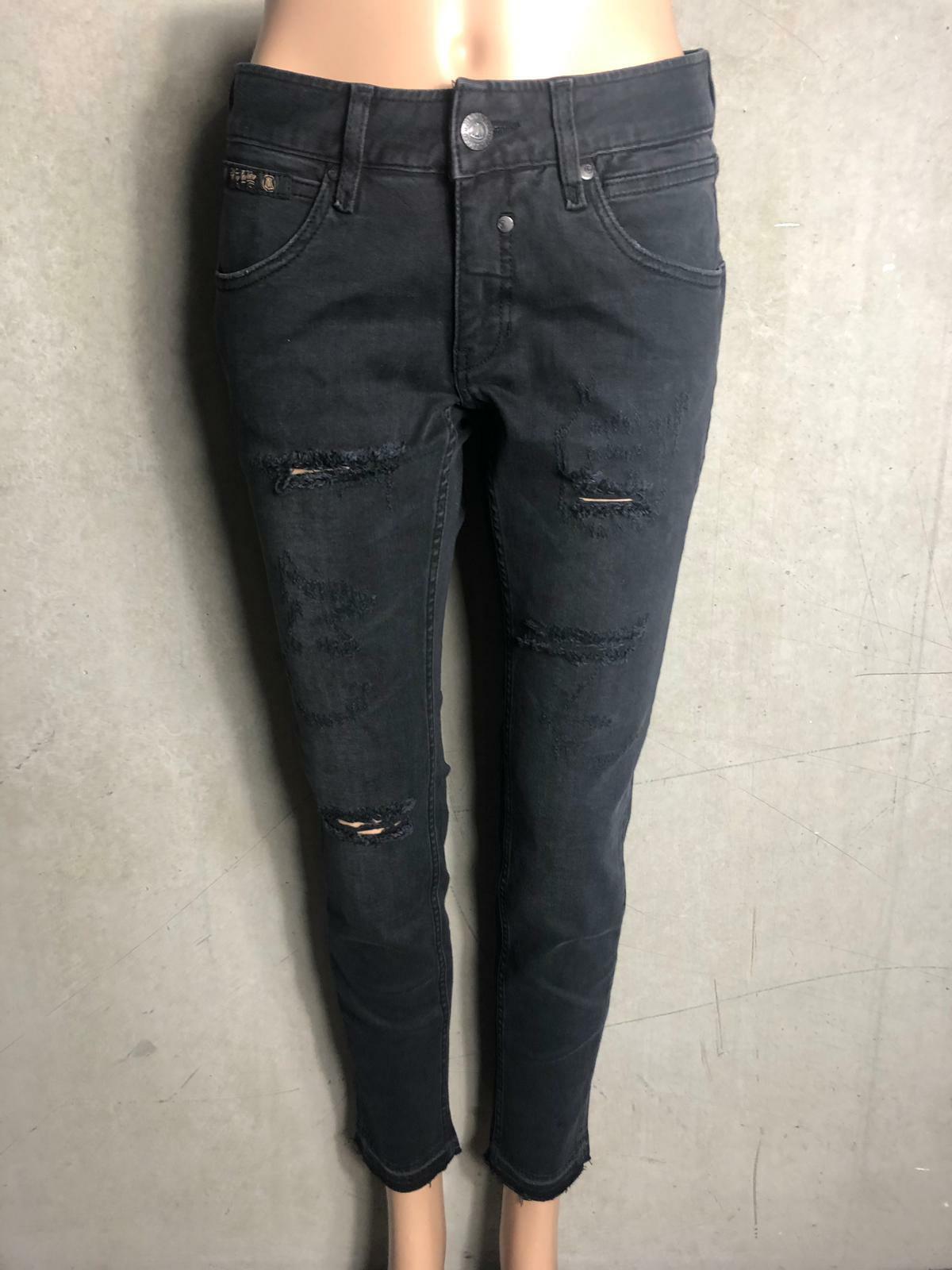 STUNNING-Cool Jeans Touch Crop sschwarz Used Look-New Größe W27 L32 3320j