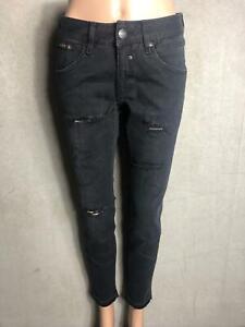 Herrlicher-coole-Jeans-TOUCH-CROP-schwarz-used-Look-NEU-Gr-W27-L32-3313n