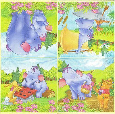 Paper Napkins Winnie the Cartoon 3 Serviettes en papier Winnie l/'ourson Ballon