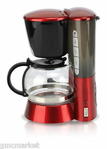 One Cup Coffee Maker With Permanent Filter : Red 4 Cup Coffee Maker Coffeemaker Coffee Pluger On-Off Switch Permanent Filter eBay