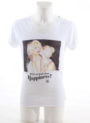 Boom Bap HAPPINESS V-Neck Button Shirt white