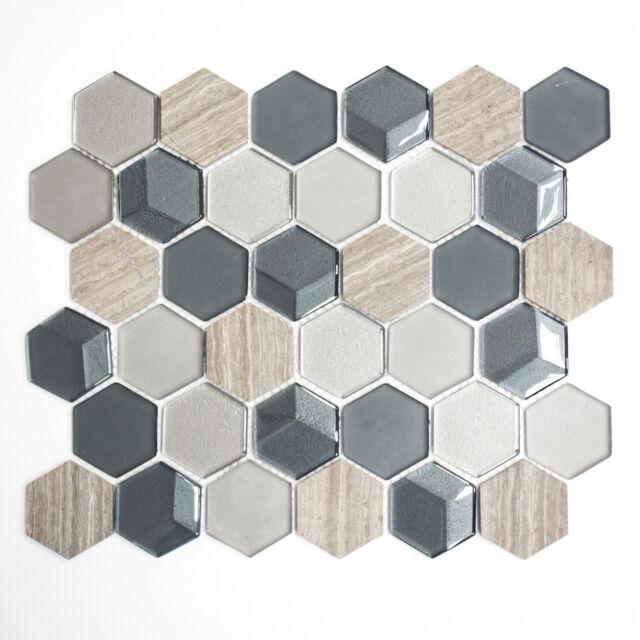 Mosaikmatte Mosaikfliesen Mosaik Hexagon Crystal/Stein mix 3D grau 260x300 mm