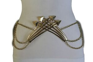 Chic Women Wide Gold Metal Chain Plate Trendy Belt Casual Retro Buckles XS S M