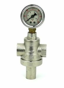 Brass-PRESSURE-LIMITING-VALVE-1-2-034-inch-FEMALE-FEMALE-ADJUSTABLE-with-oil-gauge