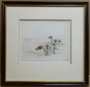 Pointers-on-the-Moor-George-Vernon-Stokes-RBA-signed-Drypoint-Etching-c1920