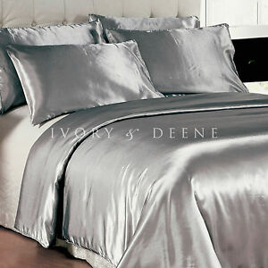 Image Is Loading Luxury Soft Silk Feel Silver Satin King Size