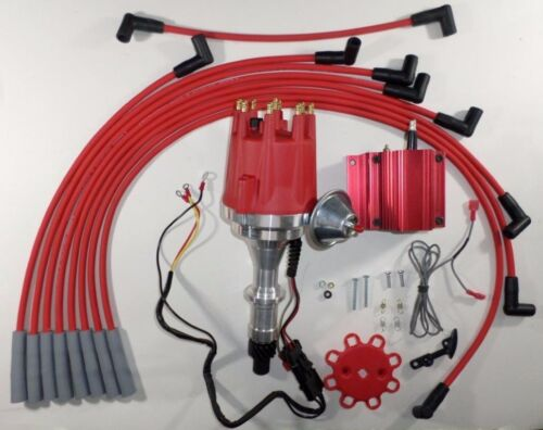 small cap PONTIAC 389-400-455 PRO SERIES Red HEI Distributor Coil /& Plug Wires
