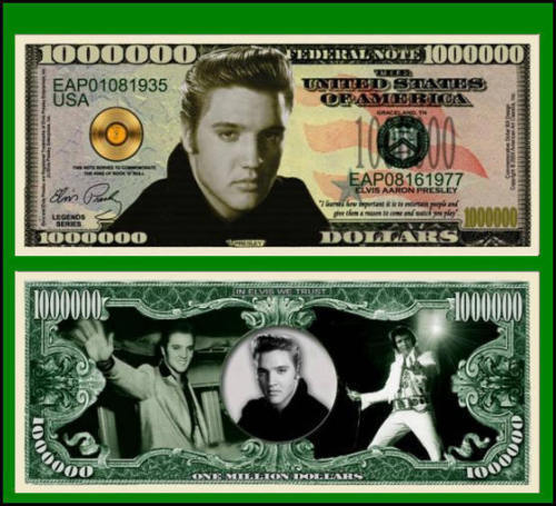 25 Factory Fresh Elvis Presley Million Dollar Bills