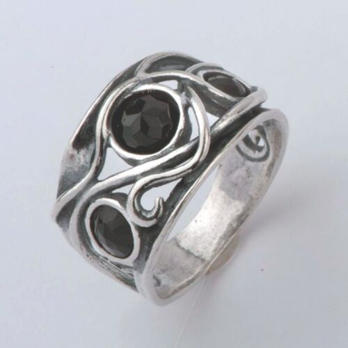 6 7 8 9 R00939ON SHABLOOL ISRAEL Didae Black Onyx Sterling Silver 925 Ring Sz