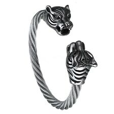 Men's Cuff Bangle Stainless Steel Twisted Cable Leopard Bracelet Silver Tone