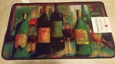 "RARE PRINTED NYLON RUG (nonskid back) (18"" x 30""), WINE BOTTLES & GLASSES by JM"