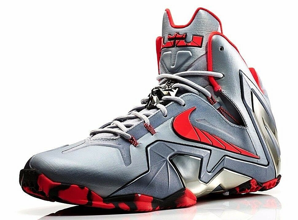 Nike lebron xi 11 la squadra d'elite grigio argento scarpe da basket calci Uomo 642846 001