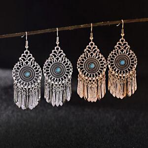 Vintange-Women-039-s-Turquoise-Bohemian-Boho-Long-Tassel-Dangle-Drop-Hook-Earrings