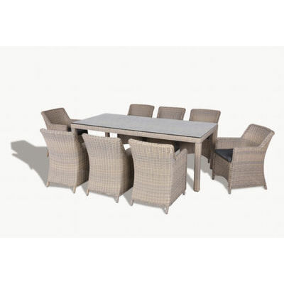 Kew 9pc Outdoor Garden Dining Table Chair Wicker Furniture Setting